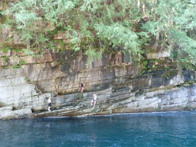 I brave the rope swing.