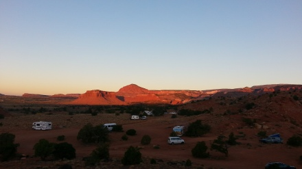 BLM campers at dawn! Our French friends' awesome car at bottom right.