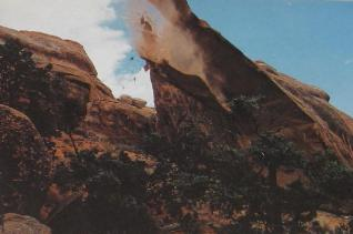 A visitor in 1991 caught geology in action as 70 feet of stone collapsed from Landscape Arch! Photo from visitor's sign.